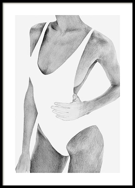 Graphite Swimsuit Poster