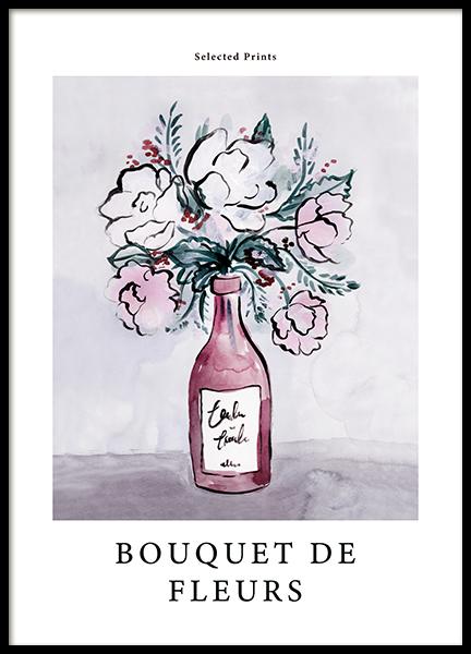 Painted Bouquet de Fleurs No1 Poster