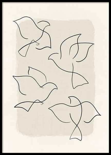 Line Art Birds Poster