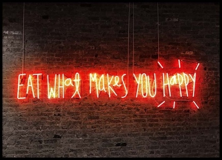 Neon - Eat What Makes You Happy Poster i gruppen Posters  / Fotokonst hos Desenio AB (2096)