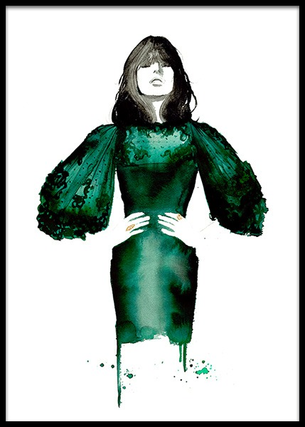 The Emerald Dress Poster i gruppen Posters  / Konststilar hos Desenio AB (2145)