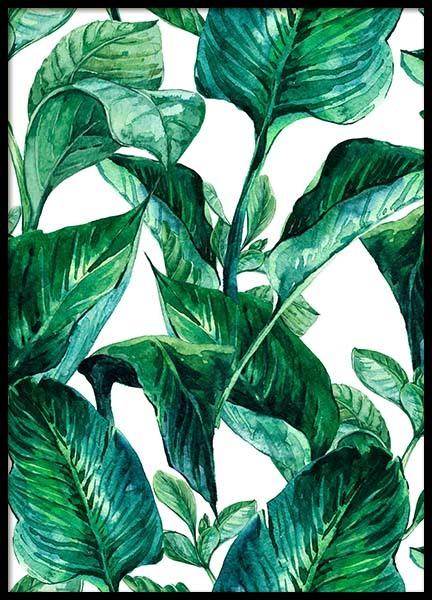 Green Leaves Pattern Poster