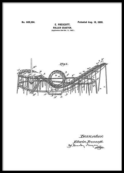 Roller Coaster Patent Poster i gruppen Posters  / Retro & vintage hos Desenio AB (2346)