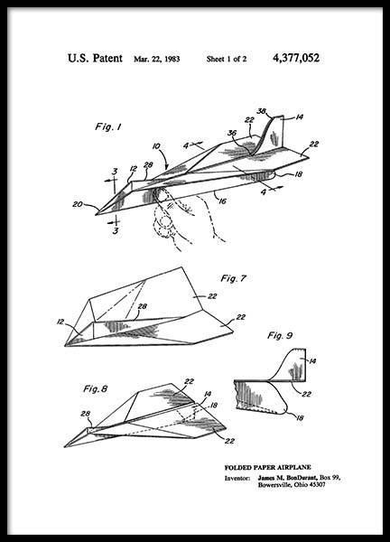 Paper Airplane Patent Poster i gruppen Posters  / Retro & vintage hos Desenio AB (2347)