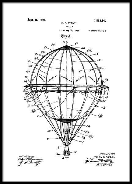 Hot Air Balloon Patent Poster i gruppen Posters  / Vintage hos Desenio AB (2348)