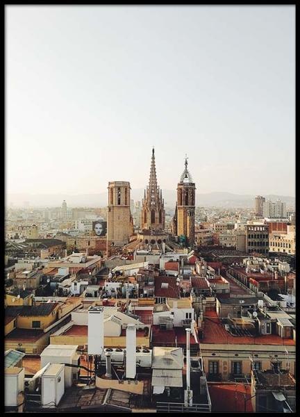 Barcelona Cityscape Poster