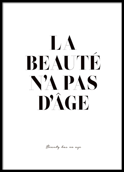 Beauty Has No Age Poster i gruppen Posters  / Texttavlor hos Desenio AB (2598)