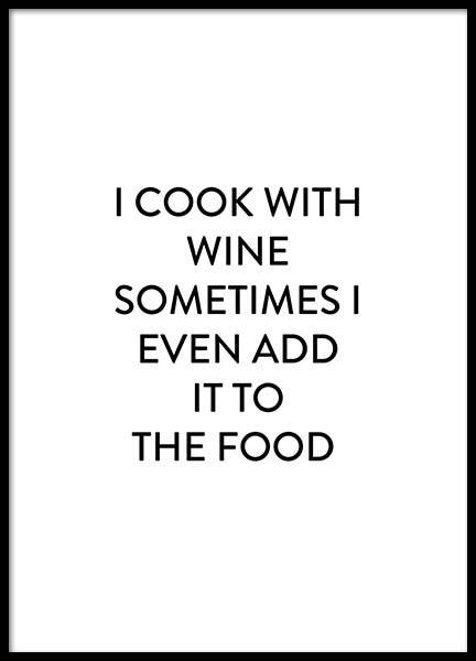 Cook With Wine Poster i gruppen Posters / Texttavlor hos Desenio AB (2659)