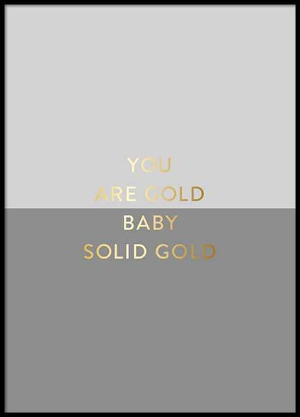 You Are Gold Gray Poster i gruppen Posters  / Storlekar / 50x70cm hos Desenio AB (2850)