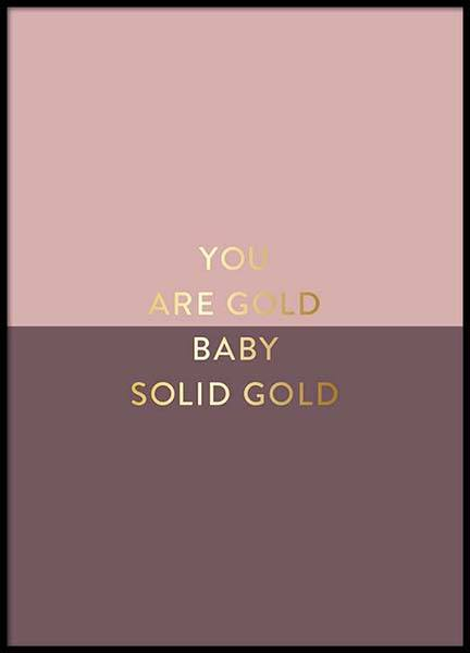 You Are Gold Pink Poster i gruppen Posters  / Storlekar / 50x70cm hos Desenio AB (2851)