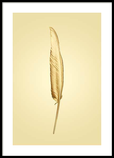 Golden Feather Poster i gruppen Posters  / Guld & silver hos Desenio AB (2859)