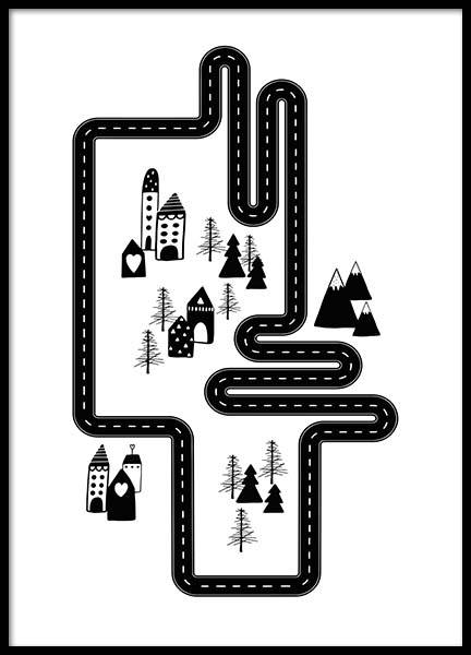 Car Track City Poster i gruppen Posters  / Illustrationer hos Desenio AB (3118)