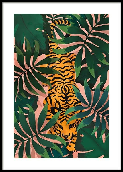 Tiger In Jungle Poster i gruppen Posters / Djur hos Desenio AB (3147)