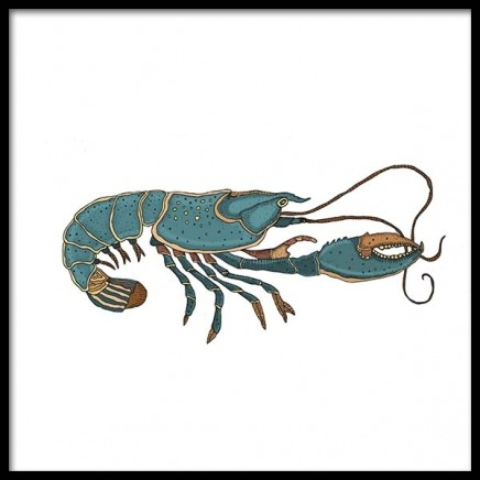 Blue Lobster Poster i gruppen Posters  / Illustrationer hos Desenio AB (3246)