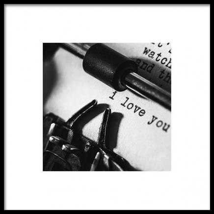 I Love You Typewriter Poster