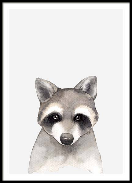 Aquarelle Raccoon Poster i gruppen Posters  / Barntavlor hos Desenio AB (3367)