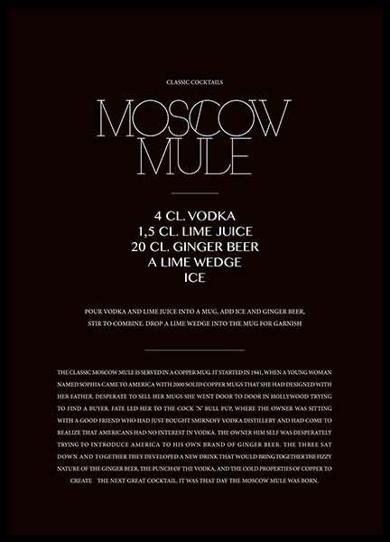 Classic Moscow Mule Poster i gruppen Posters  / Texttavlor hos Desenio AB (3626)