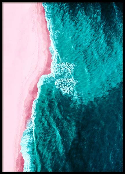 Pink Beach Above Poster