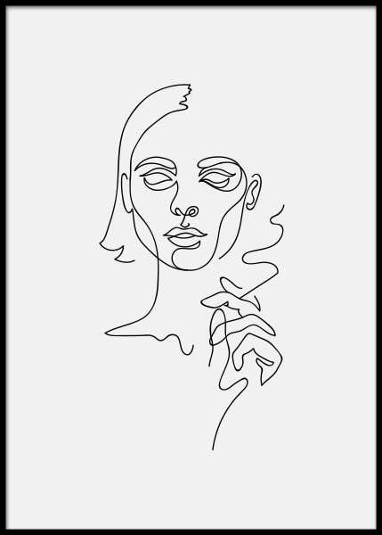 Smoking Girl Poster i gruppen Posters  / Illustrationer hos Desenio AB (3916)