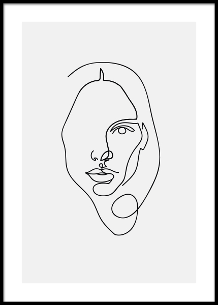 Face Woman Poster i gruppen Posters  / Illustrationer hos Desenio AB (3918)