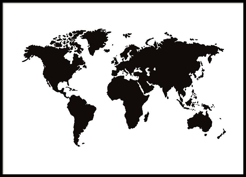 Prints och planscher med svartvit världskarta
