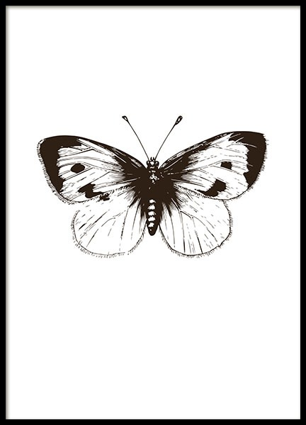 svartvit poster med illustration av fj ril tavla med. Black Bedroom Furniture Sets. Home Design Ideas
