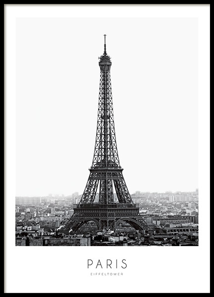 svartvit poster med eiffeltornet paris tavla prints och planscher med fotografier. Black Bedroom Furniture Sets. Home Design Ideas