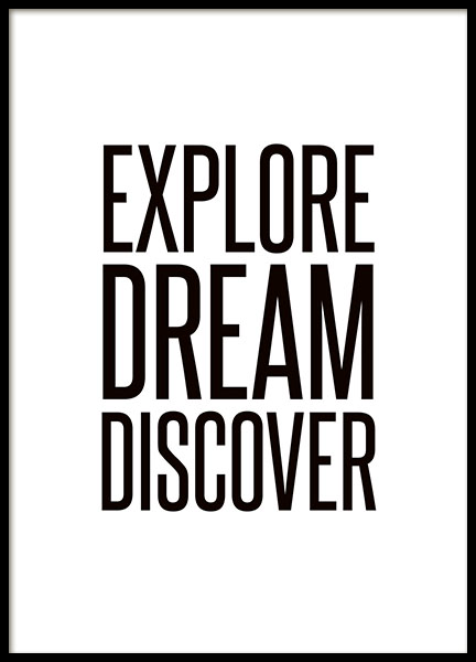motiverande poster med text explore dream discover