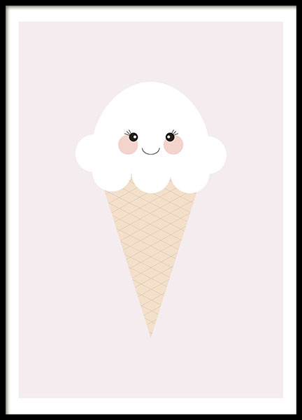 Ice Cream Pink Poster i gruppen Posters  / Barntavlor hos Desenio AB (8438)