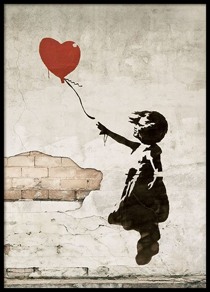 Girl With Love Balloon Poster i gruppen  hos Desenio AB (8448)