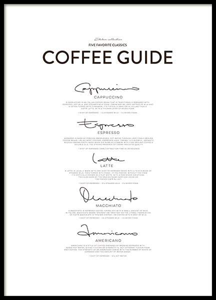 Five Coffee Classics Poster i gruppen Posters  / Storlekar / 50x70cm hos Desenio AB (8556)