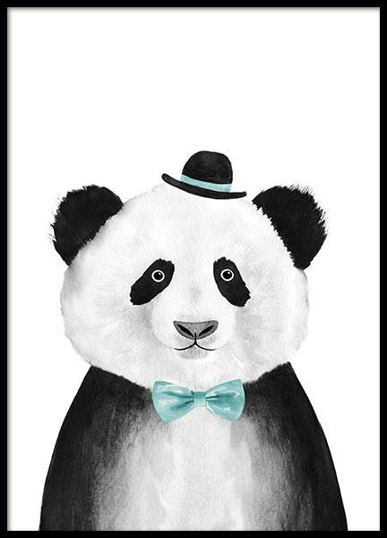 Panda With Hat Poster i gruppen Posters  / Barntavlor hos Desenio AB (8709)