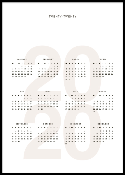 Calendar 2020 Personal Poster i gruppen Posters  / Personliga posters hos Desenio AB (pp0027)