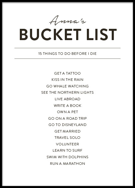 Bucket List Personal Poster i gruppen Posters / Personliga posters hos Desenio AB (pp0037)
