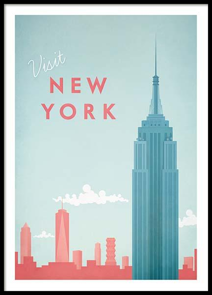 New York Travel Poster i gruppen Posters  / Handpicked / Henry Rivers hos Desenio AB (pre0011)