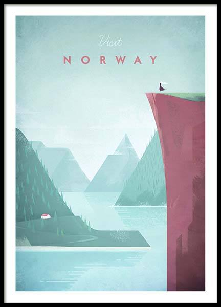Norway Travel Poster i gruppen Posters  / Handpicked / Henry Rivers hos Desenio AB (pre0012)