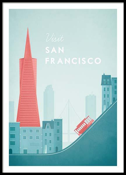 San Francisco Travel Poster i gruppen Posters  / Handpicked / Henry Rivers hos Desenio AB (pre0014)
