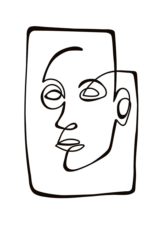 Abstract Line Portrait Poster / Svartvita hos Desenio AB (10838)