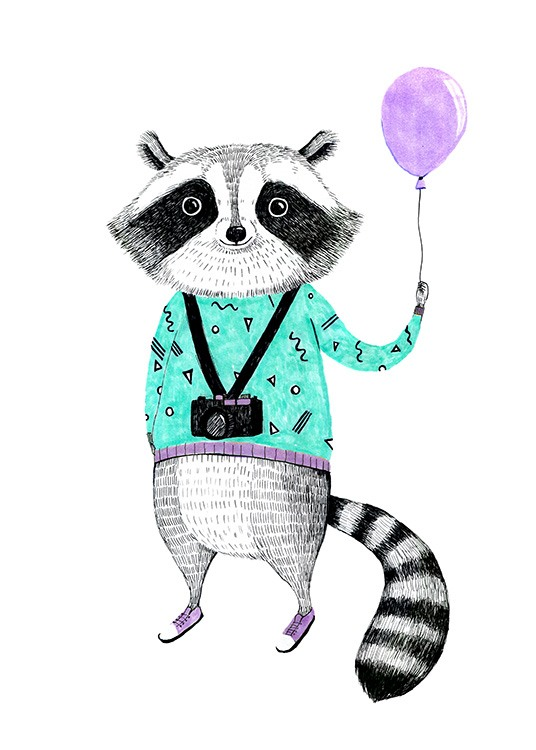 Raccoon with Balloon Poster / Barntavlor hos Desenio AB (12474)