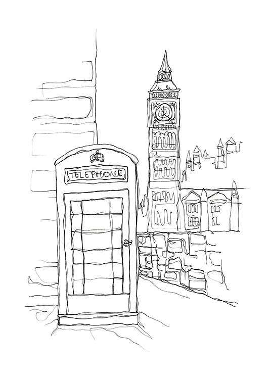 Illustrerad bild av Big Ben och telefonkiosk i London