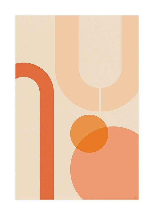 Orange Shapes Poster / Grafiskt hos Desenio AB (13620)