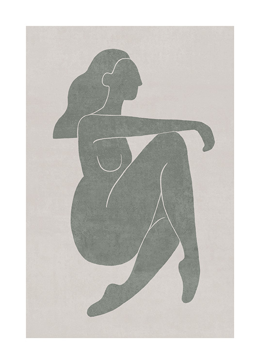 Seated Pose Green No2 Poster / Illustrationer hos Desenio AB (13800)