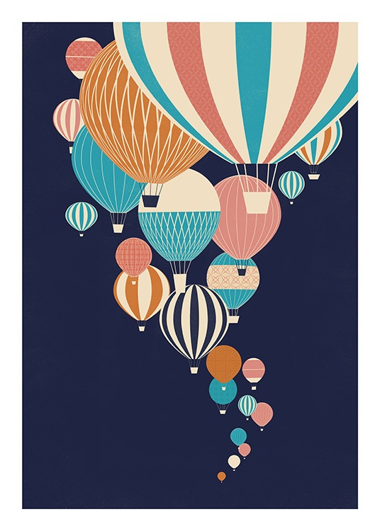 Balloons in the Sky Poster / Barn hos Desenio AB (13925)