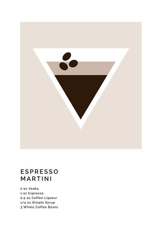 – Grafisk illustration med recept på en Espresso Martini och en illustration av drinken