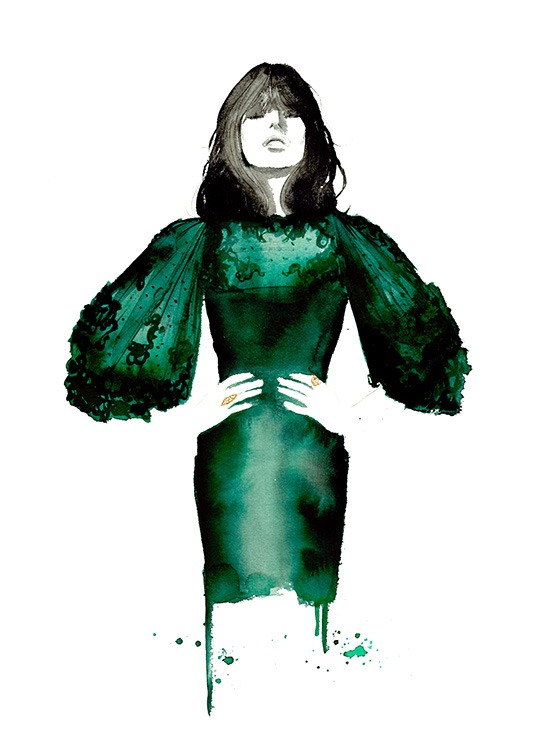 The Emerald Dress Poster / Konststilar hos Desenio AB (2145)