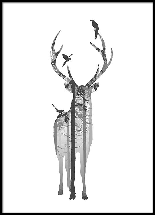 posters och affischer med naturmotiv svartvit tavla med hjort. Black Bedroom Furniture Sets. Home Design Ideas