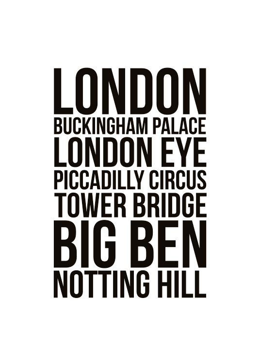 London Locations Poster / Texttavlor hos Desenio AB (7932)