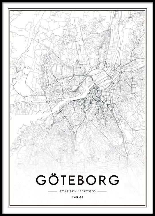 Poster Tavla Med Goteborg Karta Snygg Affisch Desenio Se