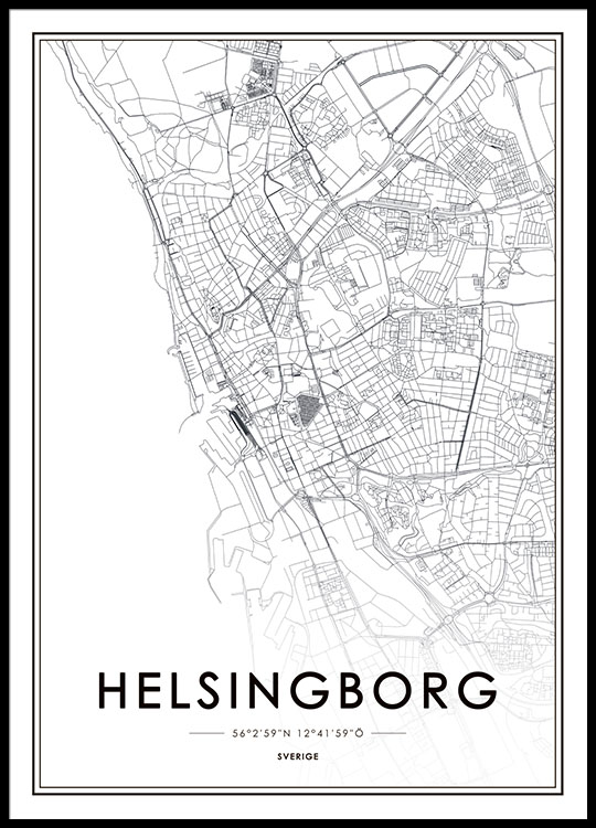 Tavla Poster Med Helsingborg Karta Fran Desenio Se
