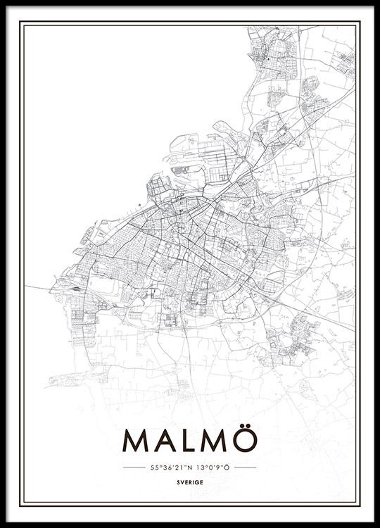 tavla karta stad Tavla, poster med Malmökarta. Handla Malmö poster online på Desenio tavla karta stad